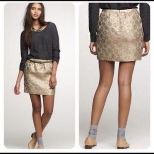 J Crew Skirt Mini Gold Silk Shimmer Dress-Up EUC